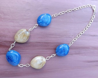Chunky necklace, blue and light brown necklace, resin and chain necklace, handmade bead chain necklace