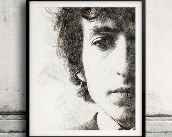 Bob Dylan portrait 02 in pen & watercolor - Fine Art Print Glicee Poster Gift Illustration Artist Poster - SKU 2127