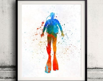 Man scuba diver 04 - Fine Art Print Glicee Poster Home Watercolor sports Gift Room Children's Illustration Wall - SKU 2288
