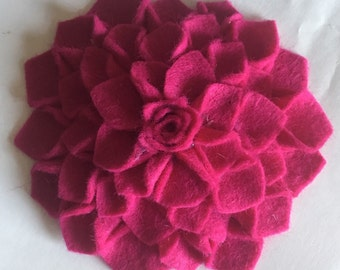 Wool felt dahlia brooch Mother's Day gift flower pin