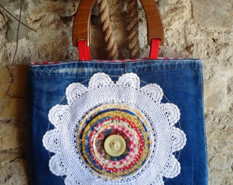 Bag jeans with deco doily