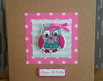 Happy Birthday - Patchwork Squares with Little Owl