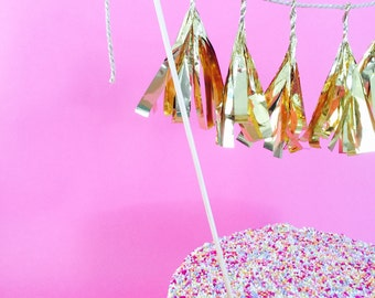 Customizable Tissue Tassel Garland Topper - Cake Topper / Pie Topper / Dessert Topper