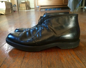 Vintage Mens 1970s Black Patent Leather Combat Chukka Ankle BOOTS Size 9 Military Army Vietnam