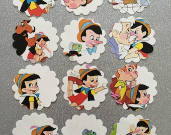 Pinocchio cupcake toppers Disney upcycled book