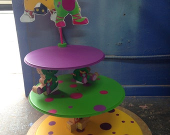 Barney the dinosaur inspired Party Cupcake and cake stand