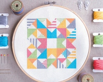 Modern Cross stitch - Play with Triangles n Strips - Geometric cross stitch pattern / Instant Download / counted cross stitch / Easy stitch