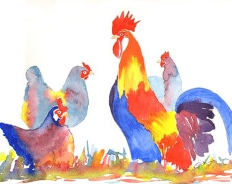 Chicken pictures-gifts for mom-chicken home decor-hen pictures-chicken lover gift-year of the Rooster-art gifts contemporary art watercolour
