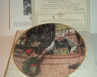 1990 Knowles Norman Rockwell Back To School Coming of Age Plate w/ COA