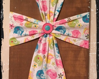 Pastel Birds Fabric Wood Cross
