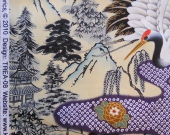 Kona Bay.  Cranes.  TREA-08.  Oriental fabric, crane design.  Japanese fabric.  1 yard units.