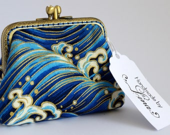 Hand crafted Japanese coin purse of waves on bronze coloured double kiss lock frame #0025