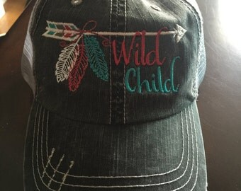 WIld Child Arrow Feather mesh back distressed baseball cap FREE SHIPPING