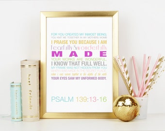 Fearfully and Wonderfully Made Verse Print