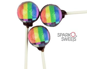 TV Signal Rainbow Gourmet Lollipops by Sparko Sweets Handmade Hard Candy ( 6 Pieces Set)