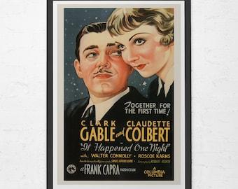 CLASSIC FILM POSTER -  Clark Gable Movie Poster - Claudette Colbert Movie Poster, Classic Art Film Poster, Classic Movie Poster