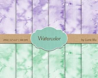 "Watercolor Digital Paper: ""Lavender and Mint Watercolor"" pastel watercolor background, watercolor overlays, mint digital paper"