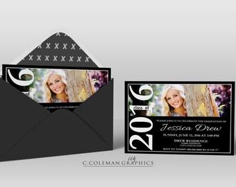 Graduation Party Invitation #17 -- Custom Invitations -- Digital File OR Free Shipping Prints