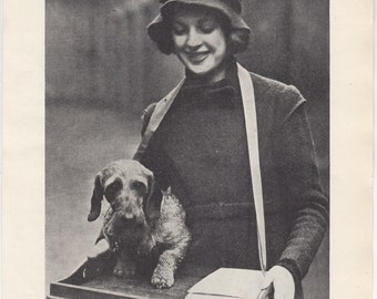 "Miniature Dachshund Helps Sell Programs,1937 British Print, 8"" X 10.5"""
