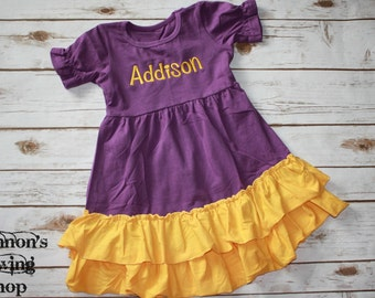 Purple & Gold Cotton Dress