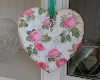 Wooden heart. Hanging heart. Made with graphic 45 papers in vintage style with silver key charm. Hangs on green organza ribbon.  Ladies gift