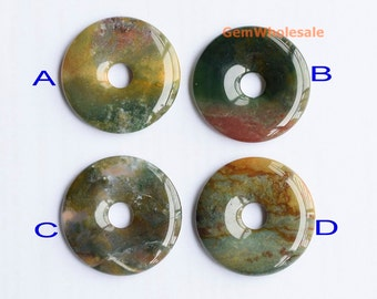 40mm Indian agate round donut pendant, multi color natural agate donut pendant, big size stone round donut, 1pc