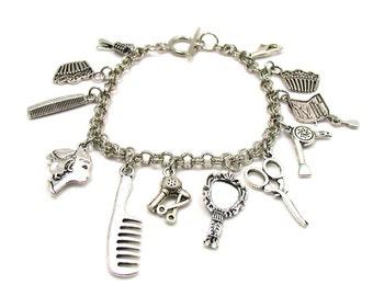 Hair Stylist Charm Bracelet, Hairdresser Charm Bracelet, Hair Salon Charms, Beauty Salon Charms, Beautician Bracelet, Beautician Gift