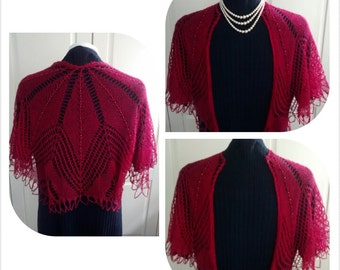 Hand knitted beaded lace shoulder shrug-silk / alpaca mix- understated elegance for everyday wear-4 in stock