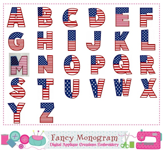 May The Fourth Be With You Lettering: 4th Of July Monogram AZ Applique4th Of July Letters