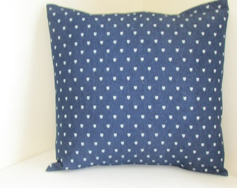 Dark Blue Denim With Hearts Pillow Cover, Blue Denim With Small Light Blue Hearts Pillow Cover