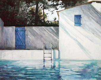 Original Watercolour Painting Pool