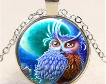 Owl And Moon Photo Cabochon Glass Tibet Silver Chain Pendant Necklace