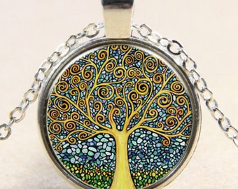 Gustav Klimt Tree of Life Glass Cabochon Silver Chain Pendant Necklace