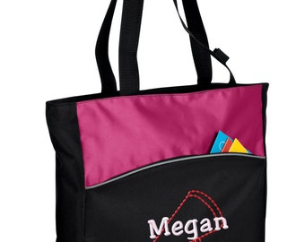 Personalized Tote Bag Embroidered Tote Bag Custom Tote Bag - Sports - Cheer leading Megaphone - B1510