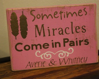 Painted Wooden Sign for Twins