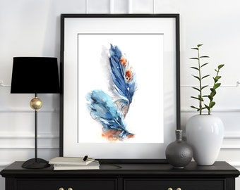 Feathers Watercolor Print, Watercolor Painting, Blue Feathers Painting, Illustration, Modern Wall Art