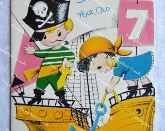 UNUSED Vintage Greeting Card - Happy Birthday Seven Year Old - Pirate Ship