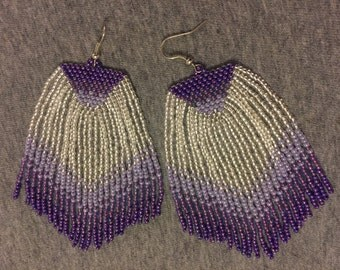Purple Ombre Fringe Earrings