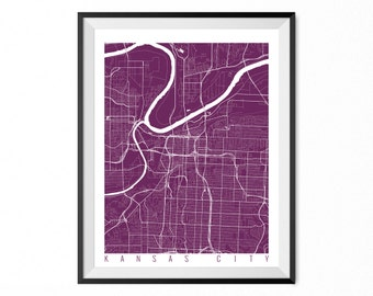 Kansas City City Map Art Print / Kansas City Poster / Kansas City Wall Art / Missouri Gift/ Missouri home decor
