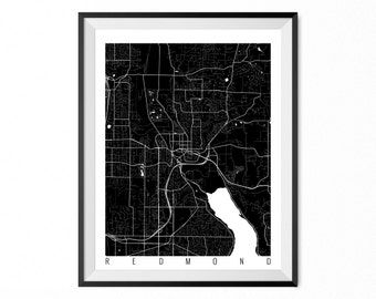REDMOND Map Art Print / Redmond City Poster / Redmond Wall Art / Washington/ Gift / Washington home decor