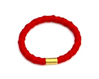 Red Textile Bangle, Fabric Rope Bangle, Red Jewelry, Cotton Bangle, Fiber Bangle, Cord Bangle, Textile Jewelry, Cord Jewelry, Rope Bangle