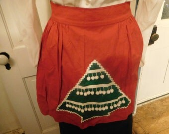 Vintage Christmas Apron, Christmas Tree Pompoms, Solid Red