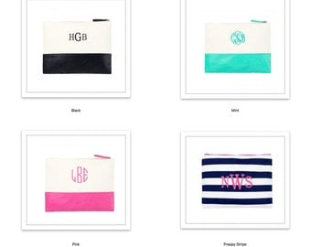 Large Acc/Cosmetic Bags, Monogrammed, Bridesmaids Gifts, Everyday Essentials Bag