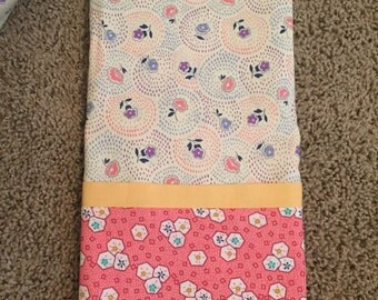 2 Vintage Pillowcases -Pink and Cream Florals