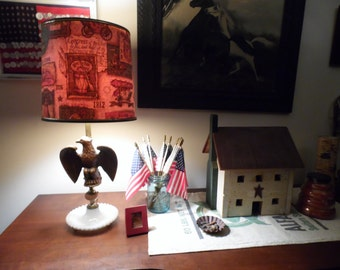 Colonial Early American Style Eagle Lamp with Original Shade, Political Patriotic Lamp