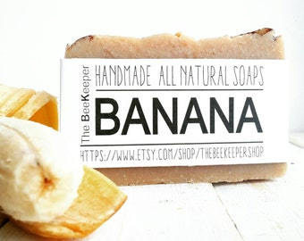 Banana Soap, Unscented Soap, Organic Soap, Cold Process Soap, Vegan Soap, Sensitive Skin Soap, Palm Free Soap, Moisturizing Soap