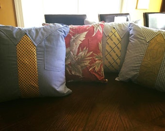 Up-cycled Men's Shirt and Tie Pillow Cover