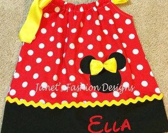 Red Minnie Mouse Pillowcase Dress - Minnie Mouse Polka dots Pillowcase Dress - Fashion Pillowcase