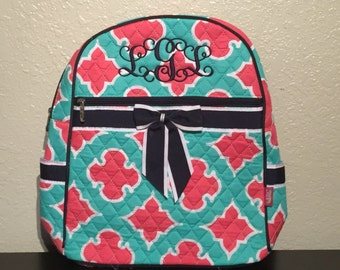 Geometric Shapes Quilted Monogrammed Backpack Mint Green and Coral with Navy Blue Trim