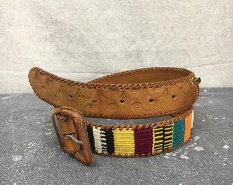 Vintage Leather Belt 34 Ethnic Boho Guatemalan Bright Colors 80s